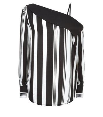 Black Stripe One Shoulder Shirt New Look