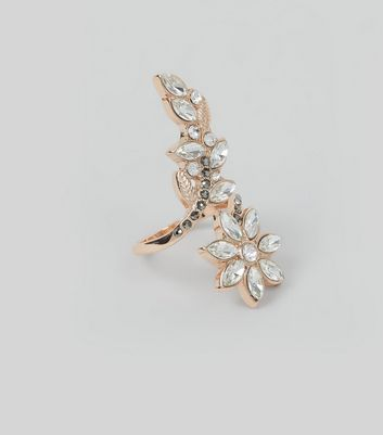 Rose Gold Crystal Embellished Leaf Wrap Ring New Look