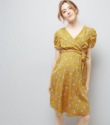 Maternity Yellow Floral Print Puff Sleeve Dress New Look