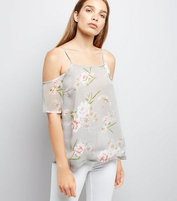 Pale Grey Floral Print Chiffon Cold Shoulder Top New Look