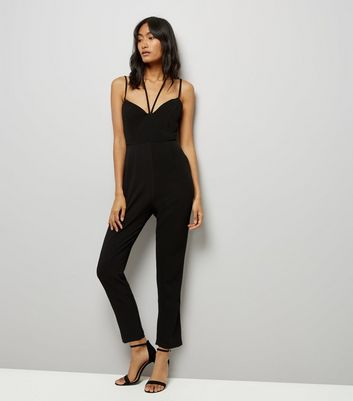 Black Strappy Tapered Leg Jumpsuit New Look