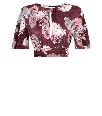 Burgundy Floral Print Cut Out Crop Top New Look