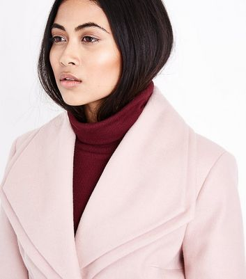 Petite Mink Layered Collar Belted Coat New Look