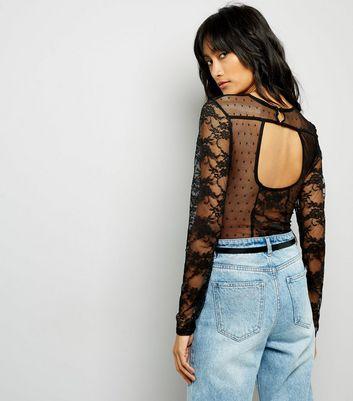 Black Contrast Lace Panel Long Sleeve Bodysuit New Look