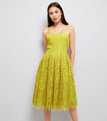 Green Premium Strappy Lace Dress New Look