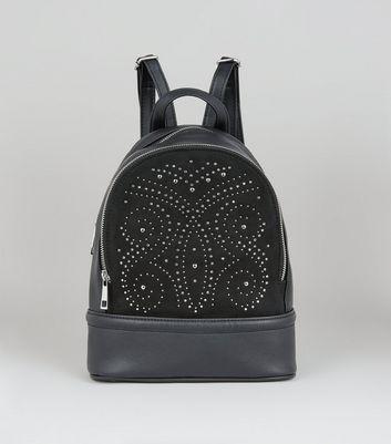 Black Contrast Panel Stud Detail Backpack New Look