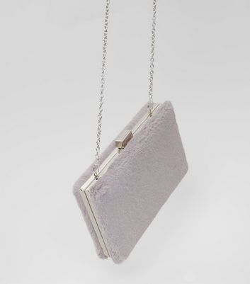 Grey Faux Fur Clutch Bag New Look