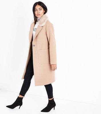 Petite Camel Faux Fur Collar Longline Coat New Look