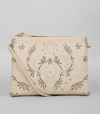 Cream Stud Embroidered Detail Shoulder Bag New Look