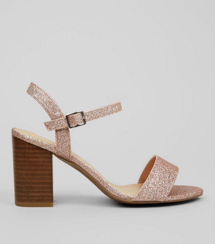 72c47c74c0c Wide Fit Rose Gold Glitter Heeled Sandals