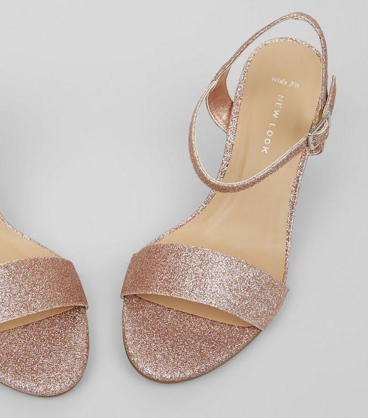 53e39ef8ea6 ... Wide Fit Rose Gold Glitter Heeled Sandals. ×. ×. ×. VIDEO Shop the look