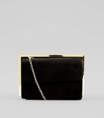 Black Suedette Metallic Framed Shoulder Bag New Look