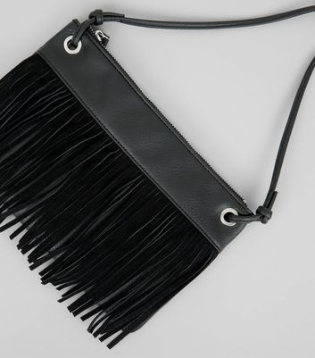 Black Fringe Cross Body Bag New Look