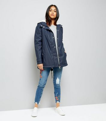 Petite Navy Borg Lined Anorak New Look