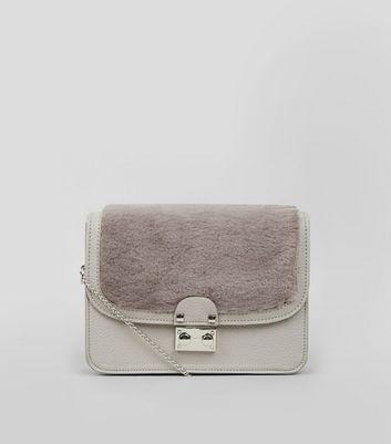 Grey Faux Fur Panel Cross Body Bag New Look