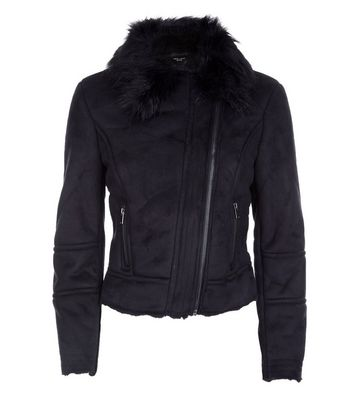 Petite Black Suedette Faux Fur Lined Biker Jacket New Look