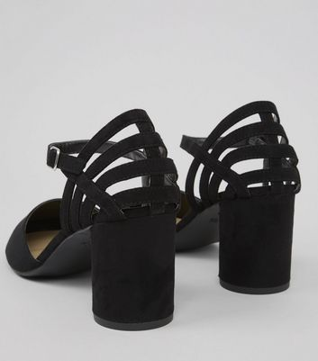 Wide Fit Black Suedette Cylindrical Heeled Courts New Look