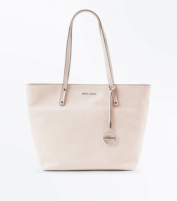 b5f6ff4bced3 Nude Leather-Look Branded Tote Bag