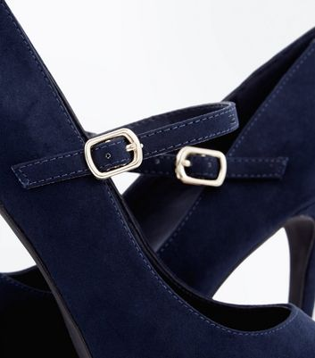 Wide Fit Navy Suedette Mary Jane Court Shoes New Look