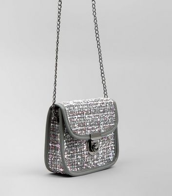 Black Boucle Cross Body Bag New Look