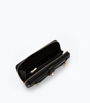 Black Double Zip Front Purse New Look
