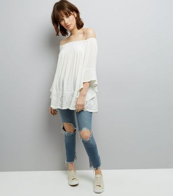 Blue Vanilla Cream Crochet Trim Bardot Top New Look