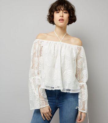 Blue Vanilla Cream Crochet Lace Bardot Neck Top New Look