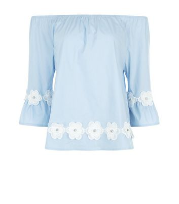 Blue Vanilla Blue Daisy Hem Bardot Neck Top New Look