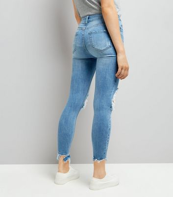 Blue Ripped Knee Skinny Jeans New Look