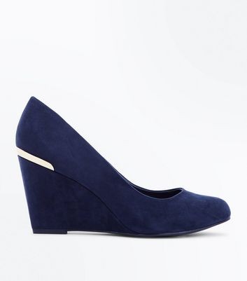 Wide Fit Navy Comfort Flex Suedette Wedge Heels New Look