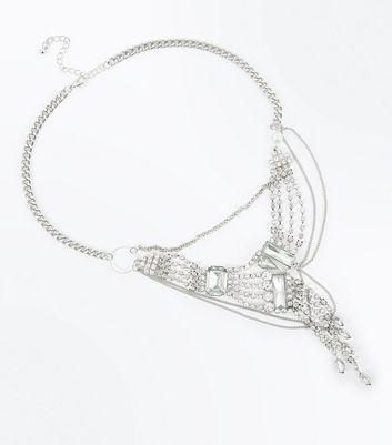 Silver Diamante and Gem Asymmetric Draped Necklace New Look