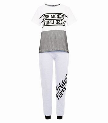 Teens White Less Monday More Friday Slogan Pyjama Set New Look