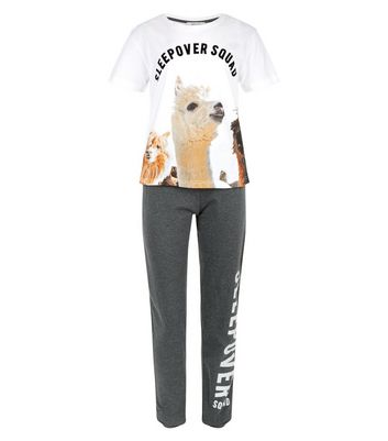 Teens White Sleepover Squad Llama Pyjama Set New Look