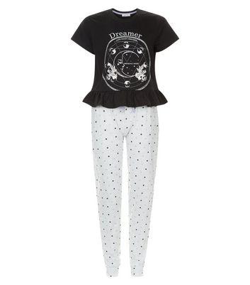 Teens Black Dream Peplum Hem Pyjama Set New Look