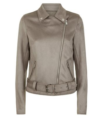 Tall Pale Grey Suedette Biker Jacket New Look