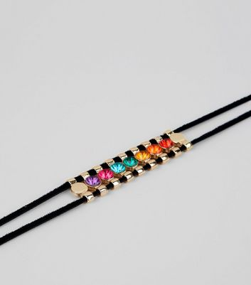 Black Cord Multi Coloured Gem Choker New Look