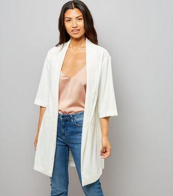 White Satin Crepe Longline Kimono New Look