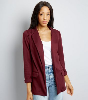 Burgundy Longline Blazer New Look