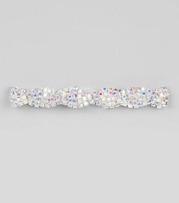 Multi Coloured Twist Crystal Bracelet New Look