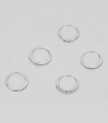 5 Pack Silver Diamante Rings New Look