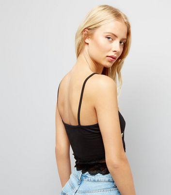 Black Floral Puff Print Lace Hem Cami Top New Look