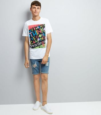 White Camping Slogan T-Shirt New Look