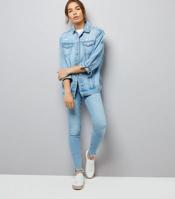 Blue Floral Embroidered Denim Jacket New Look