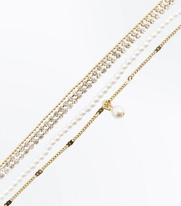 Gold Pearl and Diamante Embellished Layered Choker New Look
