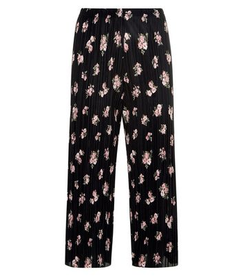Petite Black Floral Print Pleated Culottes New Look