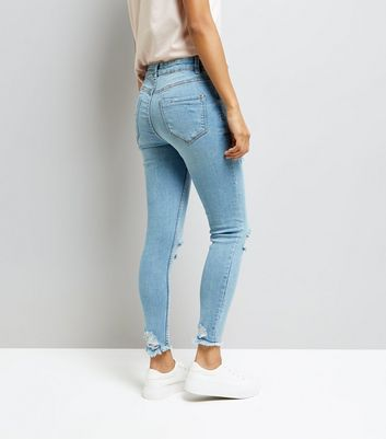 Petite Blue Ripped Skinny Jeans New Look