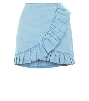 Blue Cotton Frill Wrap Skort New Look