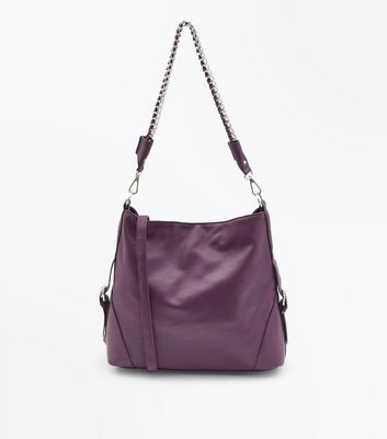 Burgundy Textured Oversized Shoulder Bag New Look