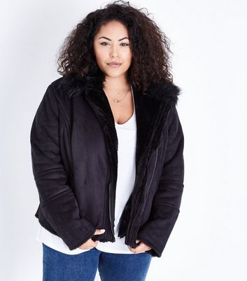 Curves Black Faux Faur Lined Aviator Jacket New Look