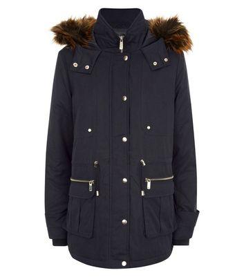 Black Faux Fur Trim Parka Jacket New Look